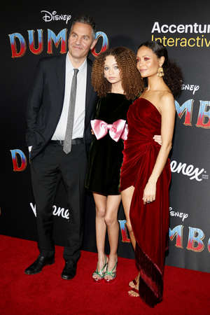 Thandie Newton, Ol Parker and Nico Parker at the World premiere of Dumbo held at the El Capitan Theatre in Hollywood, USA on March 11, 2019. Editorial