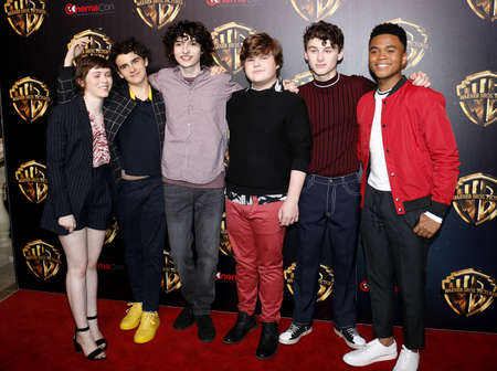 Sophia Lillis, Finn Wolfhard, Jeremy Ray Taylor, Wyatt Oleff, Chosen Jacobs and Jack Dylan Grazer at the 2019 CinemaCon - Warner Bros. Pictures 'The Big Picture' Presentation held at the Caesars Palace in Las Vegas, USA on April 2, 2019. 写真素材 - 120753634