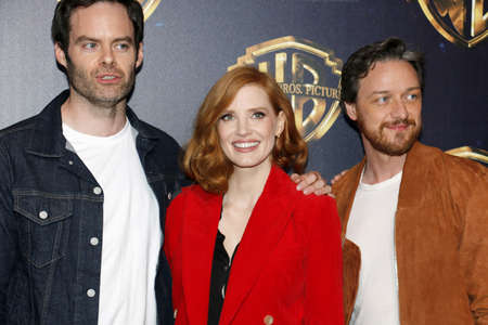 Bill Hader, Jessica Chastain and James McAvoy at the 2019 CinemaCon - Warner Bros. Pictures The Big Picture Presentation held at the Caesars Palace in Las Vegas, USA on April 2, 2019.