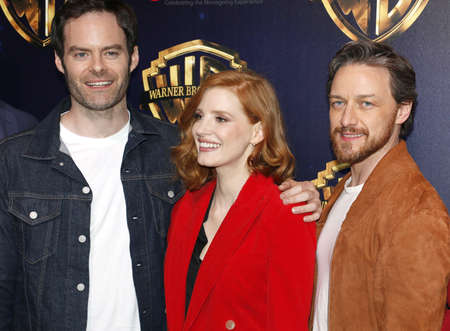 Bill Hader, Jessica Chastain and James McAvoy at the 2019 CinemaCon - Warner Bros. Pictures 'The Big Picture' Presentation held at the Caesars Palace in Las Vegas, USA on April 2, 2019. Фото со стока - 120753651
