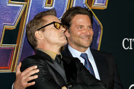 Bradley Cooper and Robert Downey Jr. at the World premiere of 'Avengers: Endgame' held at the LA Convention Center in Los Angeles, USA on April 22, 2019. Editorial