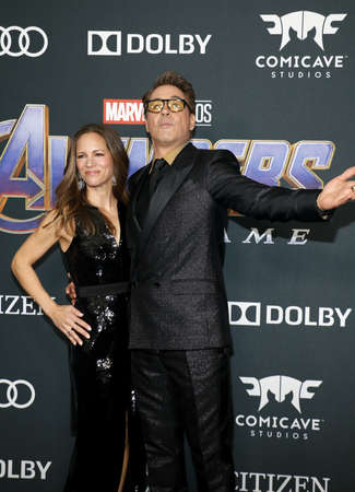 Susan Downey and Robert Downey Jr. at the World premiere of 'Avengers: Endgame' held at the LA Convention Center in Los Angeles, USA on April 22, 2019. Sajtókép