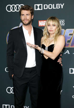 Liam Hemsworth and Miley Cyrus at the World premiere of Avengers: Endgame held at the LA Convention Center in Los Angeles, USA on April 22, 2019.