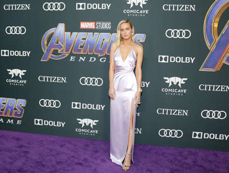 Brie Larson at the World premiere of 'Avengers: Endgame' held at the LA Convention Center in Los Angeles, USA on April 22, 2019.