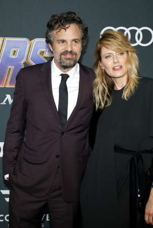 Mark Ruffalo and Sunrise Coigney at the World premiere of Avengers: Endgame held at the LA Convention Center in Los Angeles, USA on April 22, 2019.