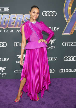Zoe Saldana at the World premiere of Avengers: Endgame held at the LA Convention Center in Los Angeles, USA on April 22, 2019.