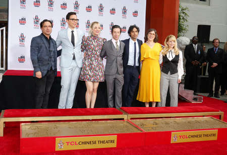 Johnny Galecki, Jim Parsons, Kaley Cuoco, Simon Helberg, Kunal Nayyar, Mayim Bialik and Melissa Rauch at the handprints ceremony for 'The Big Bang Theory' held at the TCL Chinese Theatre in Hollywood, USA on May 1, 2019.