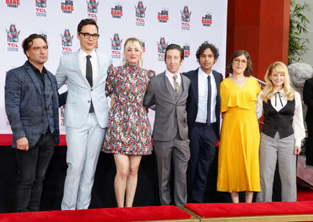 Johnny Galecki, Jim Parsons, Kaley Cuoco, Simon Helberg, Kunal Nayyar, Mayim Bialik and Melissa Rauch at the handprints ceremony for The Big Bang Theory held at the TCL Chinese Theatre IMAX in Hollywood, USA on May 1, 2019.