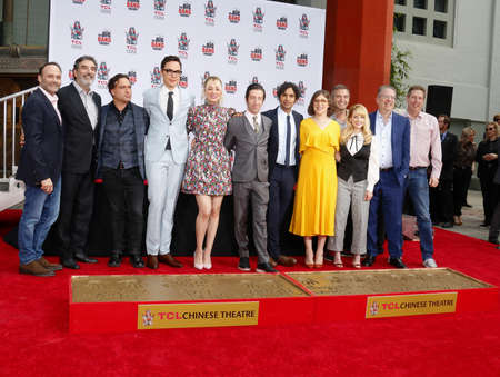 Chuck Lorre, Johnny Galecki, Jim Parsons, Kaley Cuoco, Simon Helberg, Kunal Nayyar, Mayim Bialik and Melissa Rauch at the handprints ceremony for The Big Bang Theory held at the TCL Chinese Theatre IMAX in Hollywood, USA on May 1, 2019.
