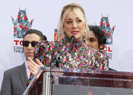 Kaley Cuoco and Simon Helberg at the handprints ceremony for The Big Bang Theory held at the TCL Chinese Theatre IMAX in Hollywood, USA on May 1, 2019. Editorial