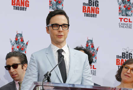 Jim Parsons at the handprints ceremony for The Big Bang Theory held at the TCL Chinese Theatre IMAX in Hollywood, USA on May 1, 2019.