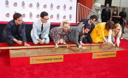 Johnny Galecki, Jim Parsons, Kaley Cuoco, Simon Helberg, Kunal Nayyar, Mayim Bialik and Melissa Rauch at the handprints ceremony for The Big Bang Theory held at the TCL Chinese Theatre IMAX in Hollywood, USA on May 1, 2019.