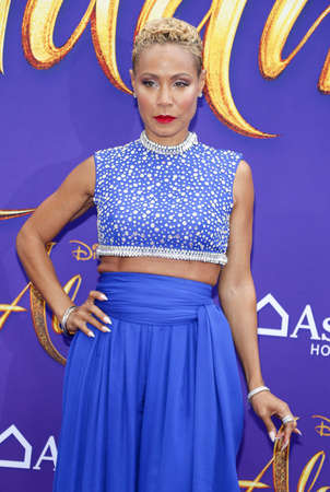 Jada Pinkett Smith at the Los Angeles premiere of Aladdin held at the El Capitan Theatre in Hollywood, USA on May 21, 2019. 新聞圖片