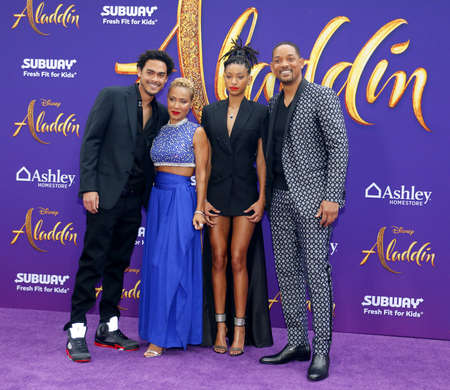Trey Smith, Jada Pinkett Smith, Willow Smith and Will Smith at the Los Angeles premiere of Aladdin held at the El Capitan Theatre in Hollywood, USA on May 21, 2019. 에디토리얼