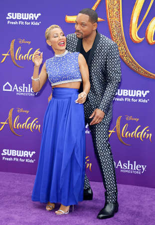 Will Smith and Jada Pinkett Smith at the Los Angeles premiere of Aladdin held at the El Capitan Theatre in Hollywood, USA on May 21, 2019.