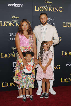 Ayesha Curry, Stephen Curry, Riley Curry and Ryan Curry at the World premiere of 'The Lion King' held at the Dolby Theatre in Hollywood, USA on July 9, 2019.
