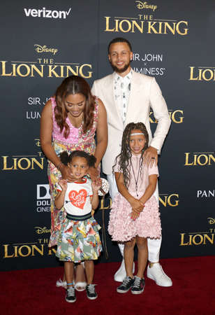 Ayesha Curry, Stephen Curry, Riley Curry and Ryan Curry at the World premiere of The Lion King held at the Dolby Theatre in Hollywood, USA on July 9, 2019.