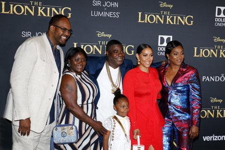 """Tiffany Haddish, Tracy Morgan e Megan Wollover alla prima mondiale di """"The Lion King"""" tenutasi al Dolby Theatre di Hollywood, USA il 9 luglio 2019."""