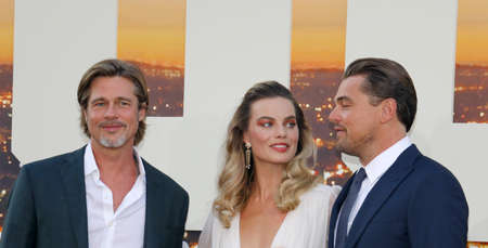 Brad Pitt, Leonardo DiCaprio and Margot Robbie at the Los Angeles premiere of 'Once Upon a Time In Hollywood' held at the TCL Chinese Theatre IMAX in Hollywood, USA on July 22, 2019. Editorial