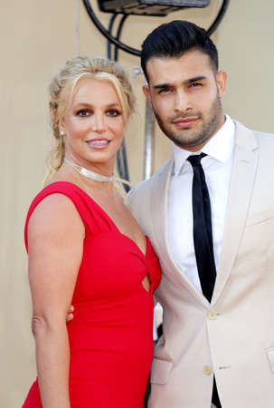 Britney Spears and Sam Asghari at the Los Angeles premiere of Once Upon a Time In Hollywood held at the TCL Chinese Theatre IMAX in Hollywood, USA on July 22, 2019.