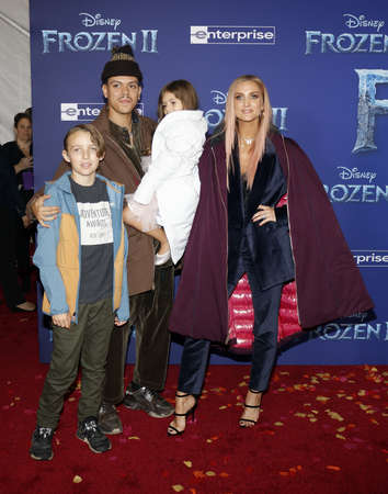 Bronx Wentz, Evan Ross, Ashlee Simpson and Jagger Snow Ross at the World premiere of Disneys Frozen 2 held at the Dolby Theatre in Hollywood, USA on November 7, 2019.