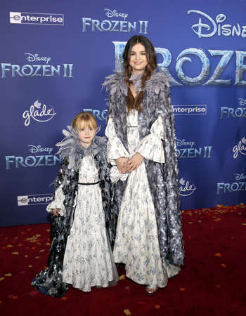 Selena Gomez and Gracie Teefey at the World premiere of Disneys Frozen 2 held at the Dolby Theatre in Hollywood, USA on November 7, 2019.