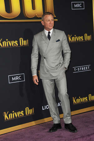 Daniel Craig at the Los Angeles premiere of 'Knives Out' held at the Regency Village Theatre in Westwood, USA on November 14, 2019.