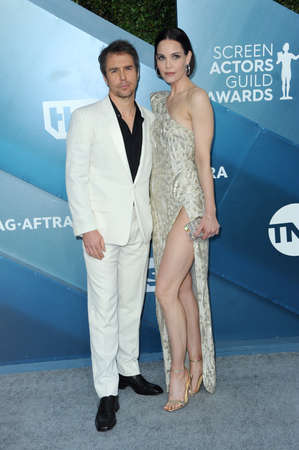 Sam Rockwell and Leslie Bibb at the 26th Annual Screen Actors Guild Awards held at the Shrine Auditorium in Los Angeles, USA on January 19, 2020.