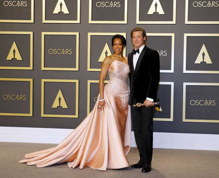 Regina King and Brad Pitt at the 92nd Academy Awards - Press Room held at the Dolby Theatre in Hollywood, USA on February 9, 2020.