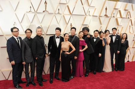 Bong Joon Ho, Yang Jin-mo, Jin Won Han, Kwak Sin-ae, Ha-jun Lee, Kang-ho Song, Sun-kyun Lee, Yang-kwon Moon and Yeo-jeong Jo at the 92nd Academy Awards held at the Dolby Theatre in Hollywood, USA on February 9, 2020.