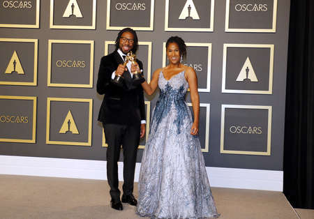 Matthew A. Cherry and Karen Rupert Toliver at the 92nd Academy Awards - Press Room held at the Dolby Theatre in Hollywood, USA on February 9, 2020.