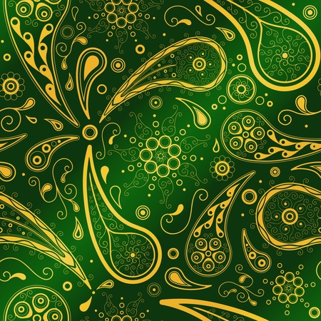 Traditional eastern ornament in gold and green. Seamless vector pattern. Stock Vector - 9575957