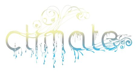 climatic: Calligraphic inscription of word Climate. Illustrates climatic variety. EPS 8 vector. Illustration