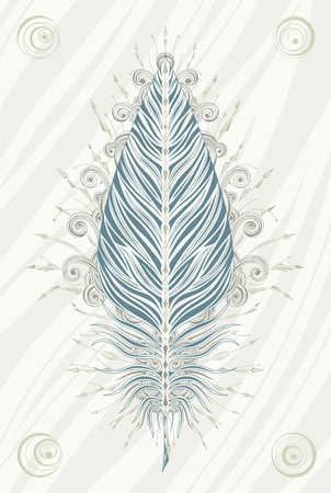 Poster with ornate vintage feather in faded colors. Vector illustration. Vector