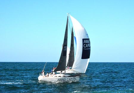 Sailing boat near Atlantis in Arabian Gulf
