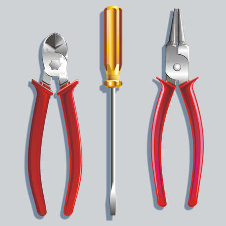Metalwork tools a screw-driver Stock Photo