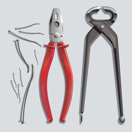 Pincers, flat-nose pliers and exhausted nails