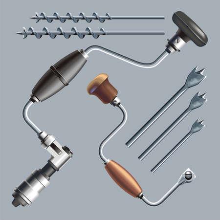 auger: Ratchet brace, brace and nose bit  Stock Photo