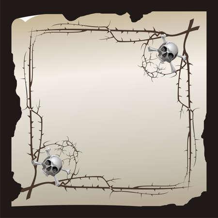 sterbliche: Altes Papier Blatt mit sterblichen Symbol und Stachel-Filialen Lizenzfreie Bilder