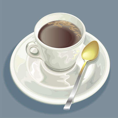 robust: Morning coffee cup and spoon on saucer   Stock Photo