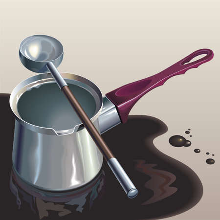 puddle: Steel coffee-pot in coffee puddle