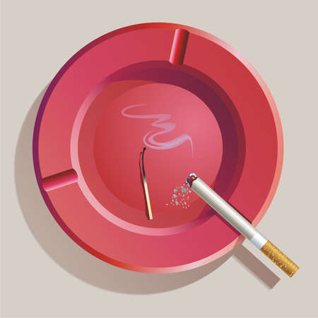 ashes: Ashtray with burning cigarette, match and ashes