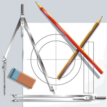 drawing instrument: Drawing instrument, paper sheet and eraser