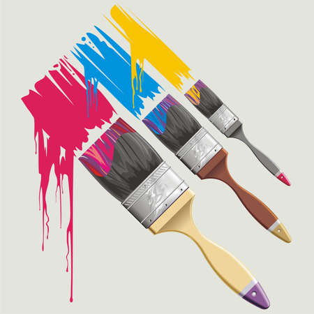 Vector background with paint-brush and paint flash