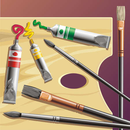 bristle: Palette with paint tube and paint-brush  Illustration