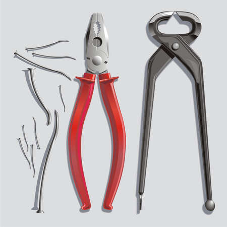 metalworker: Background with pincers, flat-nose pliers and exhausted nails