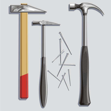 metalworker: Background with three metal hammers and nails
