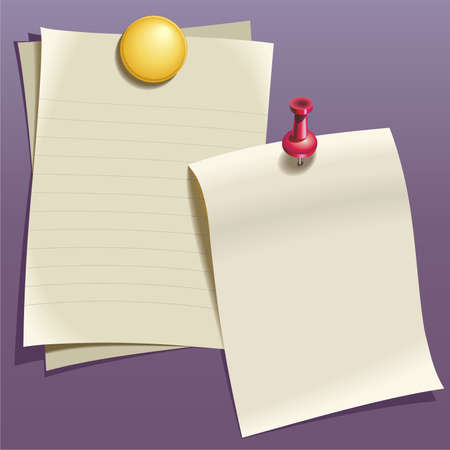 compostion: Writing paper, red and yellow pin on purple wall