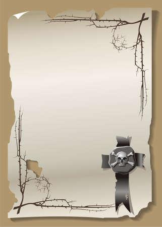obscure: Hoja de papel sellado y el sello de cera Vectores