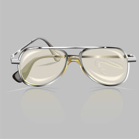 farsighted: Grey background with spectacles in metallic rim Illustration